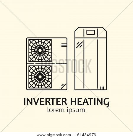 House Heating Single Logo. Illustration of Inverter Heating Blocks made in trendy line style vector. Clean and Simple modern emblem for shop product or company. Perfect for your business.