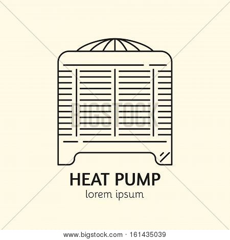 House Heating Single Logo. Illustration of Heat Pump made in trendy line style vector. Clean and Simple modern emblem for shop product or company. Perfect for your business.