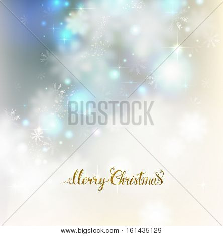 Xmas abstract  elegant shine background with snowflakes.  Merry Christmas gold lettering on the light glimmered greeting card.
