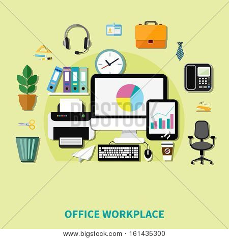 Office workplace composition of decorative icons with computer printer phone shelf with folders and waste basket flat vector illustration