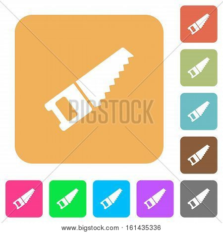 Hand saw icons on rounded square vivid color backgrounds.