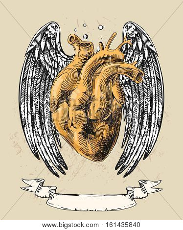 Illustration with sketch of human heart with wings. Hand drawn vector background.Boho style drawing. Us for print for t-shirt smart phone poster web. Happy Valentine s Day.