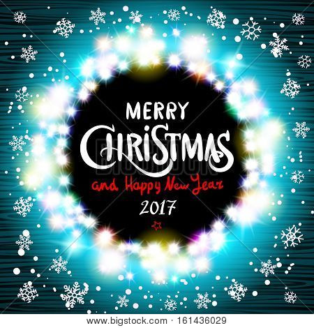 Merry Christmas And Happy New Year 2017 Realistic Ultra Blue Colorful Light Garlands Like Round Fram