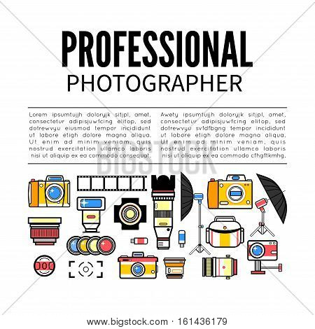 Photographer or photostudio concept design illustration. Workspace with camera, umbrella, film, lens, photo, tripod. Flat design vector
