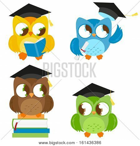 Owls with graduation hats and books. Vector illustration