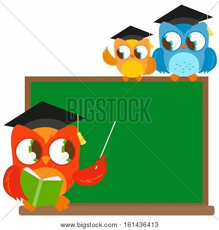 Owl teacher pointing at chalkboard and students at classroom