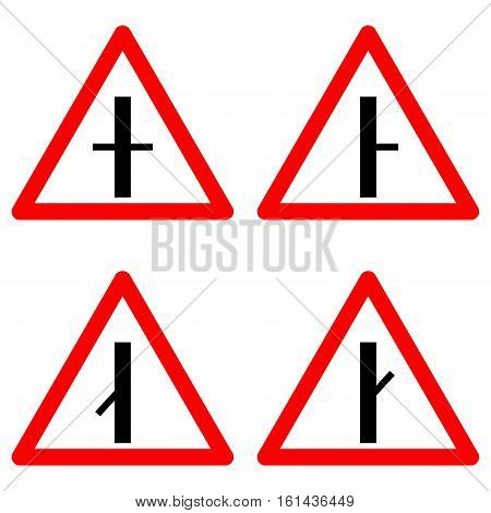 Traffic signs vector set on white background. Set of crossroad ahead, intersection symbols for road in red triangle. Vector illustration