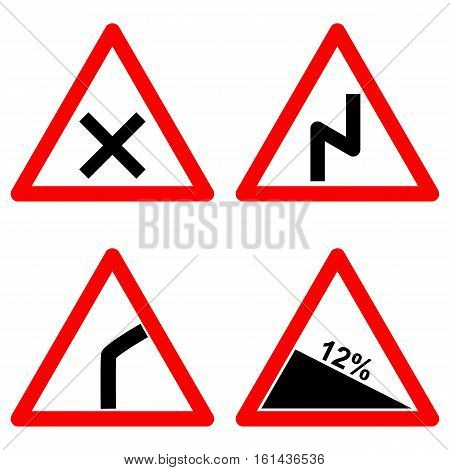 Traffic signs vector set on white background, left reverse bend, intersection, crossroad, steep climb road symbols in red triangle. Vector illustration