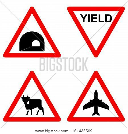 Traffic signs vector set on white background, yield, wild animal, flight area, tunnel symbols in red triangle. Vector illustration