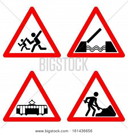 Traffic signs vector set on white background, school ahead, children, draw bridge, tram railway crossing, road construction area symbols in red triangle. Vector illustration