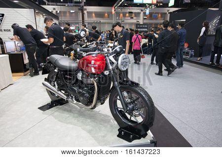 BANGKOK - November 30: Triumph Street Twin motorcycle on display at Motor Expo 2016 on November 30 2016 in Bangkok Thailand.
