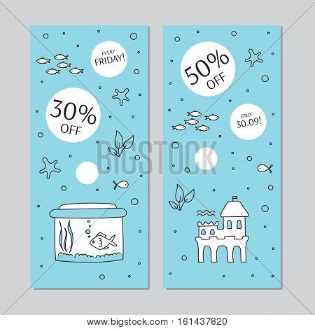 Aquarium care. Vector vertical banner templates. Fish and decoration, plants and special equipment. For posters, cards, brochures and invitations, flyers, website and pet shop designs.