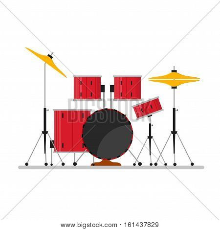 Cartoon Color Drum Kit or Set Musical Instruments for Concerts and Parties. Flat Design Style Vector illustration