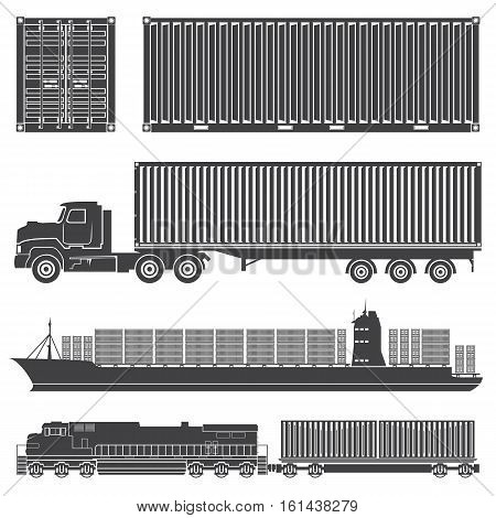 Vector set of isolated silhouettes of the container train, locomotive, wagon with containers, trucks, and merchant ships with a container vessel. Transport logistics transportation of cargo in containers.