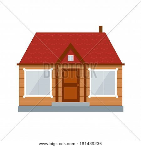 Wooden House or Country Residence with Large Windows for Rest and Living. Vector illustration
