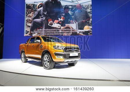 BANGKOK - November 30: Ford Ranger car on display at Motor Expo 2016 on November 30 2016 in Bangkok Thailand.