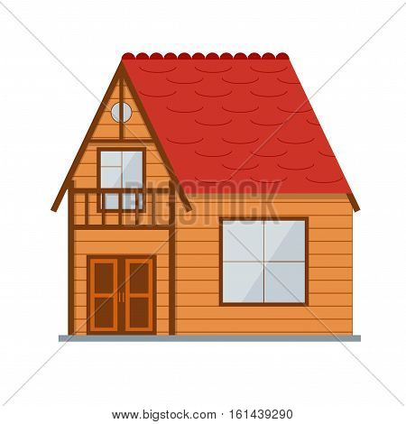 Wooden Country Brown House Maisonette. Family Property for Vacation Vector illustration