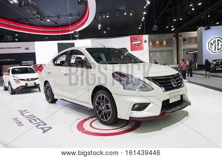 BANGKOK - November 30: Nissan Almera car on display at Motor Expo 2016 on November 30 2016 in Bangkok Thailand.