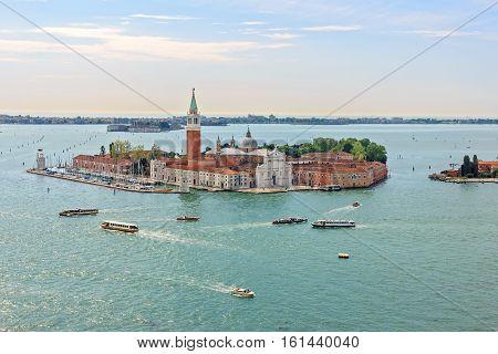 San Giorgio Maggiore island. Panoramic aerial view of Venice from San Marco Campanile.
