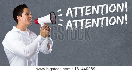Attention Announcement Announce Warning Information Young Man Megaphone