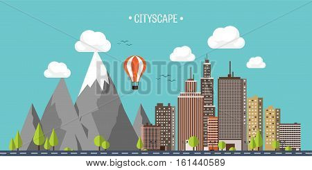 City in summer. Urban landscape with mountains. Town. Mountain peak, snow. House in village. Weather.