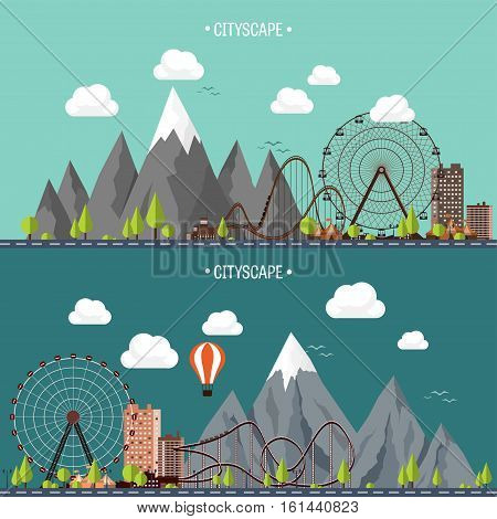 Vector illustration. Ferris wheel. Carnival. Funfair background. Circus park. Skyscrapers with roller coast. Mountain peak. Nature. Ecology.