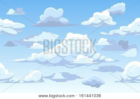 Vector cartoon blue cloudy sky. Horizontal seamless pattern with clouds, cloudscape background illustration