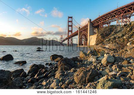 Beautiful sunset and Golden Gate Bridge San Francisco