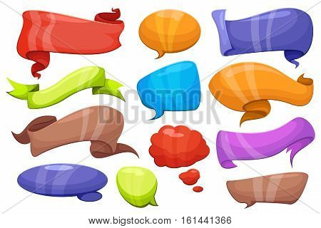 Cartoon comic ribbons, banners and bubbles for speech and message, label cloud for think and dialog. Vector illustration