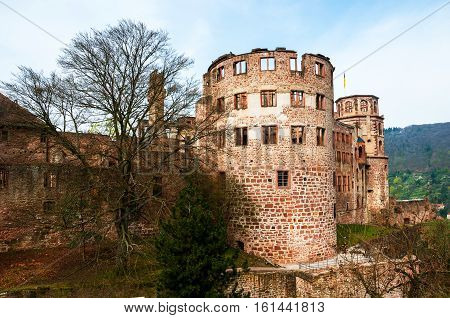 Heidelberg Germany. Renaissance style Heidelberg Castle - ruin and a landmark in Germany. Popular tourist destination most famous attraction of the area