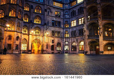 Munich Germany. Illuminated historical building of Town hall at night in Munich - the capital of Bavaria in Germany.