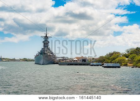 USS Arizona memorial monument in Hawaii USA