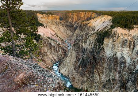 Beautiful aerial view of Yellowstone river from overlook