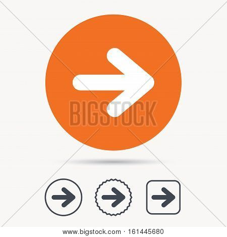 Arrow icon. Next navigation symbol. Orange circle button with web icon. Star and square design. Vector