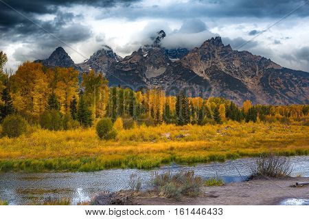 Schwabacher landing after strom. Grand Teton national park WY