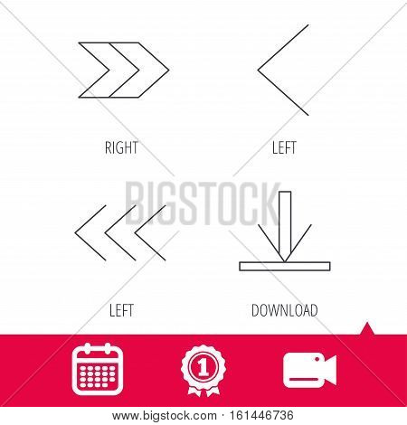 Achievement and video cam signs. Arrows icons. Download, left and right direction linear signs. Next, back arrows flat line icons. Calendar icon. Vector