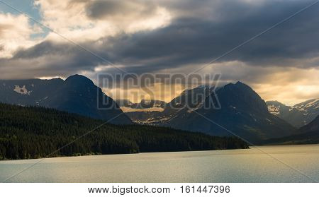 Beautiful sunset over lake in Glacier National Park