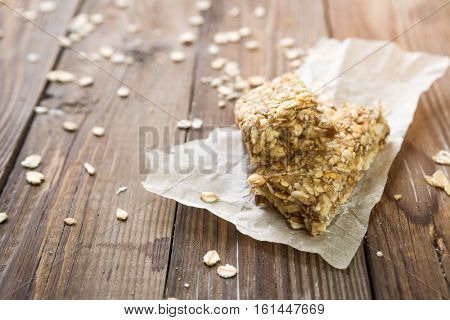 Diet bars on wooden table
