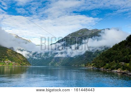 Norwegian landscape with the Geiranger fjord, listed as a UNESCO World Heritage Site