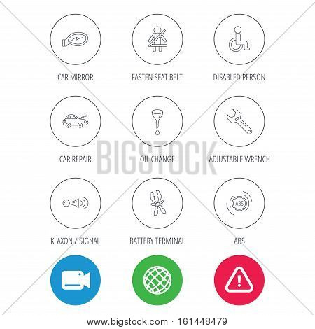 Car mirror repair, oil change and wrench tool icons. ABS, klaxon signal and fasten seat belt linear signs. Disabled person icons. Video cam, hazard attention and internet globe icons. Vector