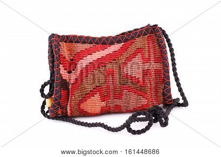 Fabric bag with Armenian ethnic pattern isolated on white background.