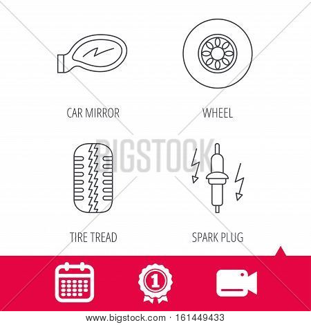Achievement and video cam signs. Wheel, car mirror and spark plug icons. Tire tread linear sign. Calendar icon. Vector