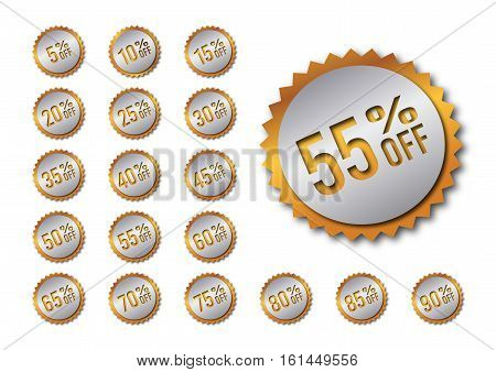 A bundle with isolated vector discount tags in golden colors
