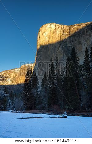 Reflection of El Capitan in the winter Yosemite National Park
