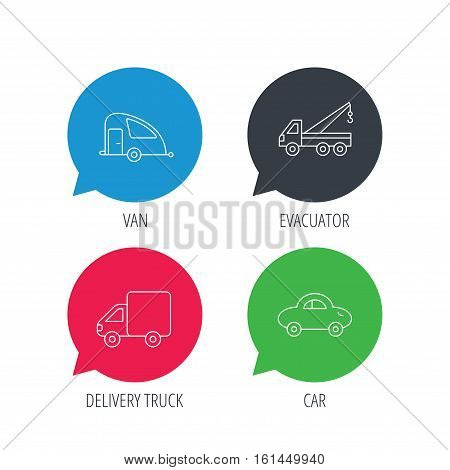 Colored speech bubbles. Car, delivery truck and evacuator icons. Travel van linear signs. Flat web buttons with linear icons. Vector
