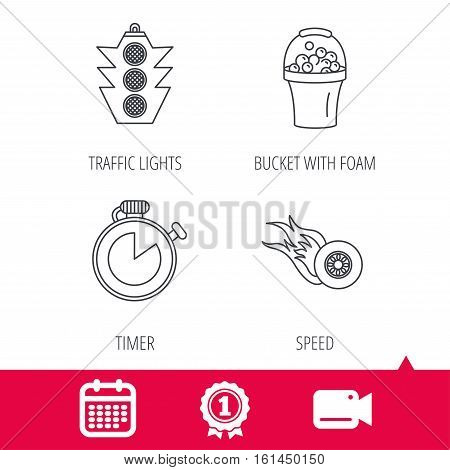 Achievement and video cam signs. Race, traffic lights and speed icons. Bucket with foam, fire wheel linear signs. Calendar icon. Vector