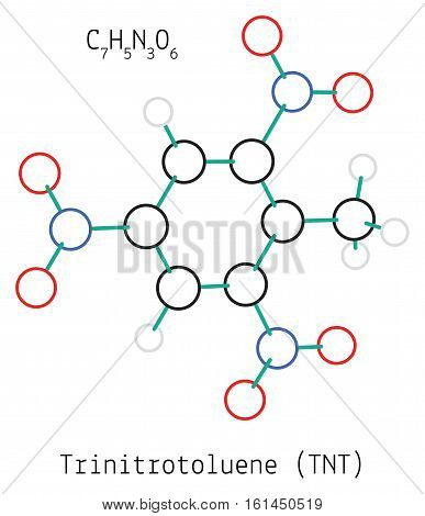 Trinitrotoluene TNT C7H5N3O6 molecule isolated on white