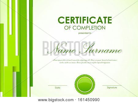 Certificate of completion template with digital light green futuristic background and seal. Vector illustration