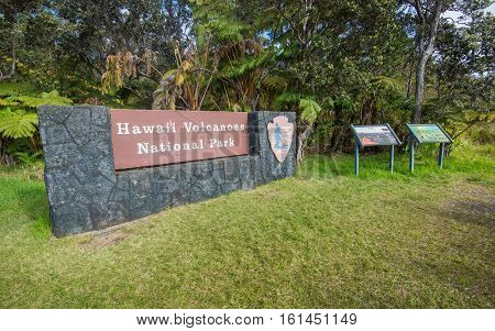 Entrance Sign of Hawaii Volcanoes National Park