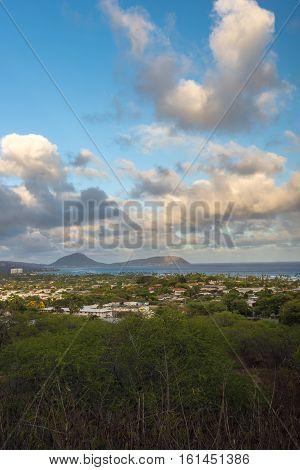 Honolulu overlook view from Diamond Head, Hawaii USA